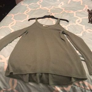 Olive green size L-Xl cold shoulder sweater